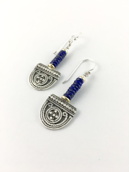 faceted lapis silver tribal